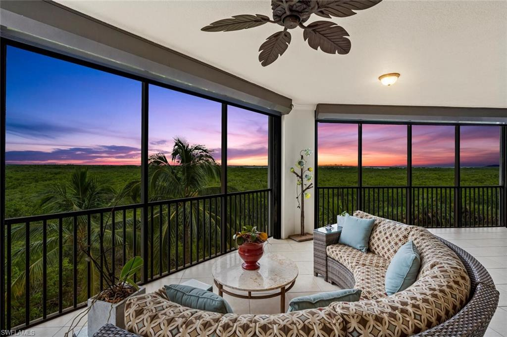 C.18025 - This beautiful updated  2665 sq. ft. 3 bedroom 3.5 bath 3rd floor end unit with 2 lanais has fabulous views of Estero Bay.  Enjoy sunsets on this large screened terrace with hurricane shutters for piece of mind.  All windows and sliders are also hurricane impact rated. This well designed interior has designer lighting throughout, split bedrooms,ensuite baths, large great room for entertaining and open kitchen.  The kitchen features, stainless steel appliances, wall oven with microwave, cooktop, quartz countertops and extended center island which has plenty of storage.  Each bedroom closet is equipped with closet systems providing more storage.  Included with this unit is 2 under building parking spaces and large storage closet. Castella has a stunning pool with spa as well as a beautiful covered gathering area. Residents enjoy har-tru tennis courts, Pickleball, Bocce, dining at the Bay Club, fitness facility and for those who love the water,canoe/kayaks, water taxi to the 34 acre Island Gulf Beach Park, marina with boat slips,and sailing center. Golf memberships are optional.