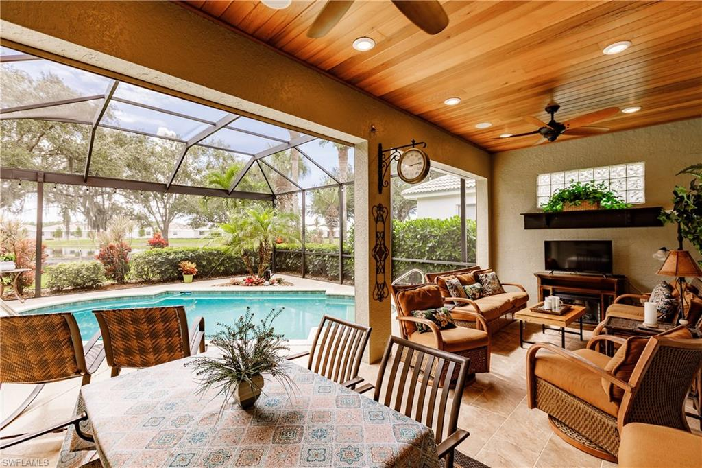 Welcome to your picture-perfect home overlooking the water and the 10th hole in Callaway Greens. Home awaits you in the highly sought-after and rarely available section of Gateway Greens. Pack your bags and move right, in as this home has been meticulously cared for and tastefully updated. Enjoy many upgrades such as high-end cabinetry, granite countertops, both bathrooms freshly remodeled, crown molding throughout, plantation shutters, walk-in pantry with additional built-in and movable shelving, epoxy garage floor, storage cabinetry in the garage and the list continues. The master bedroom overlooks the pool area and features a stylish accent wall, a walk-in shelved closet, a double sink vanity, and a walk-in shower. Create memories in the formal living and dining room with missed friends and family. Entertain in the large open format kitchen, peninsula countertop, and living area. The outdoor space steals the show! Sip your favorite beverage in your cedar ceiling covered lanai, looking out over the pool through the new infinity screen pool cage off into the sunset. The Club at Gateway just completed a $5 million renovation. See Youtube for the video of The Club.
