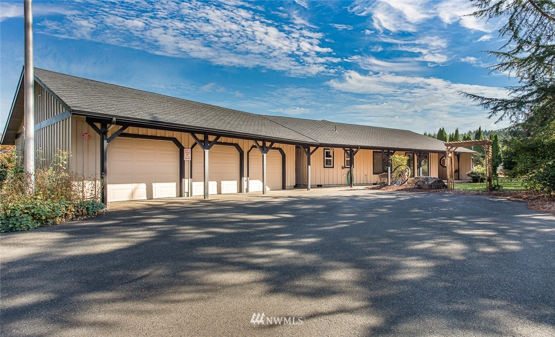 This over 17 acre ranch has everything you need to be self contained without living off grid. The 3,000 sq ft main house with a pool sits at the end of a paved driveway. Nestled in the farming community of Adna, you have wide open spaces yet are only 30 minutes from Olympia, and less than hour from NW beaches or skiing at White Pass. Thoughtfully designed for self sufficiency, the main house is equipped with solar panels and a three stall garage. There is a shop cluster close to the main house to store all the farm equipment. A hoop greenhouse & garden area close the main house. The cluster of outbuildings for the animals is a short walk from the house. Barn with hay loft & stables with covered turnout and tack room.