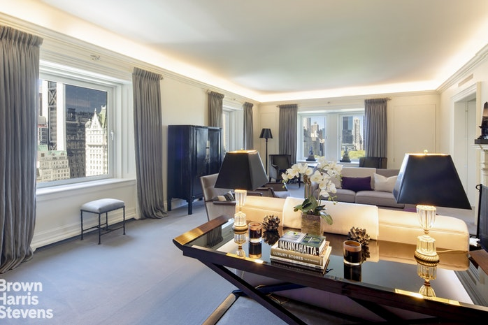 This impeccably renovated six room apartment at the world renowned Pierre provides the ultimate home for sophisticated entertaining and luxurious living. With almost 70 feet of frontage overlooking Central Park and ceilings over 10 feet high, the views, scale and elegance of this apartment are truly exceptional. The grand double door entry leads to a large gracious entry hall opening directly on to the stately corner living room with breathtaking views west over Central Park and south over Grand Army Plaza through four oversize windows. An adjacent library features two more enormous windows overlooking the park. The two bedroom suites are perfectly situated to provide ultimate privacy. A large gallery off the entrance hall features a full bath that serves as the powder room and access to the large, private master suite hall.Facing north and west, the corner master suite features magnificent Central Park views. A large windowed dressing room outfitted with ample custom closets and storage leads to an elegant marble master bath with large shower and double sinks.On the other end of the apartment the private guest suite comprises a large corner bedroom with direct park views to the west and city views to the south, a sitting room with open south exposures and an en-suite full bath which could easily serve as the third bedroom, making this a three bedroom three bath residence. The guest suite has its own entrance from the public hallway for ultimate privacy.A new top of the line kitchen also features its own access from the hall for added convenience when entertaining.This is a rare combination of south, west, and north views presenting a truly unique opportunity to own a piece of history at The Pierre Hotel.