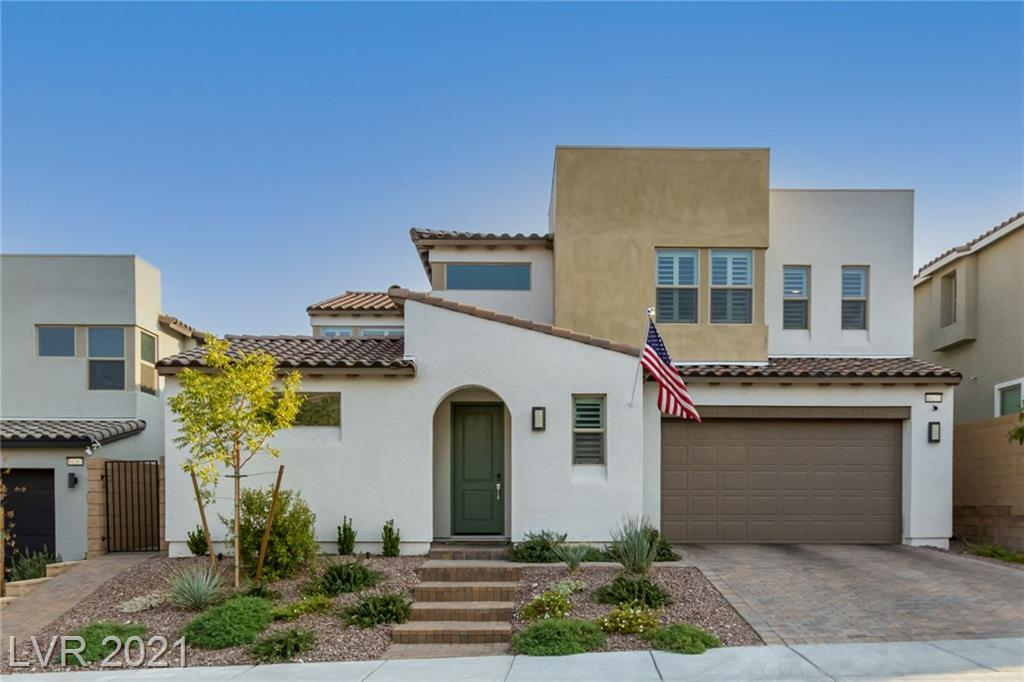 This modern 5 bed, 4.5 bath, 2-story home, built in 2019, is located in the beautiful Skye Canyon community. This open floor plan is flooded with natural light from giant windows complete w/ poly-wood shutters, a large kitchen, quartz countertops, luxury laminate flooring, a water softener & RO system, 9' ceilings, 2-tone paint, 2-tone cabinets, 3-car tandem garage, modern stair railing, custom wall treatments & landscaped backyard w/ in-ground tramp. Enjoy a community gym, pool & nearby parks.