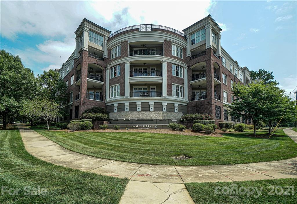 Welcome home to this rare first-floor condo with dual master suites minutes from SouthPark, Uptown, and Ballantyne. 10' ceilings, 8' doors, and large windows make this space feel even more luxurious. The living room opens to a 200 sq ft covered terrace. Kitchen includes Bosch stainless steel appliances, granite countertops and a breakfast bar. Large laundry room with a workspace provides extra storage. This home has been impeccably maintained and updated throughout. New HVAC installed in 2019. Assigned parking and storage unit.