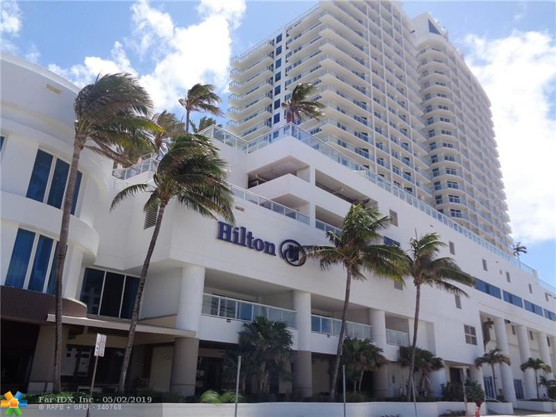 Unbelievable opportunity to own this fully furnished luxury condo located in the Hilton Hotel & Resort! This 1BR/1BA corner unit offers modern furnishings, a king-sized bed + sofa bed, 2 flat screen TV's, full kitchenette, inviting living area and a large balcony with gorgeous ocean views! Enjoy first class amenities offered from the Hilton Hotel such as a Pool Deck on the 6th floor with direct ocean views, Restaurants and Bars, 24-hour Fitness Center, Spa, Concierge and much more. Located in the heart of Ft. Lauderdale and only a short walk/bike ride away from restaurants and shopping, nightlife and daily entertainment. Don't miss this ultimate vacation spot! All Information recorded in the MLS is intended to be accurate but cannot be guaranteed, buyer advised to verify. Sold As-Is.