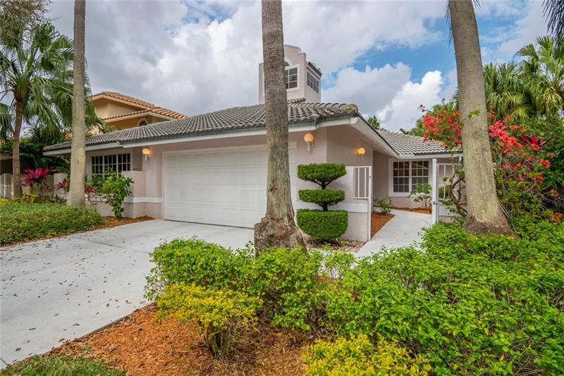 Bright and beautiful tree lined streets as you enter the gated neighborhood of Captiva Cay to this single story 3 bed 3 bath sun filled haven with a 2 car garage. Private updated kitchen w/ an island. Granite counters, wood cabinets, wine fridge, SS appliances and plenty of storage that overflows into the dining room which could be perfect as a family room, entertainment room, class room endless ideas. Sizable family room with French doors direct you to the private screened patio perfect for entertaining.  Deluxe master suite has a walk in closet equipped with built in shelving. Spacious master bath with a separate shower and soaking tub which leads you to a grand private screened patio with plenty of space to sit back, relax and unwind! The perfect place to call home!