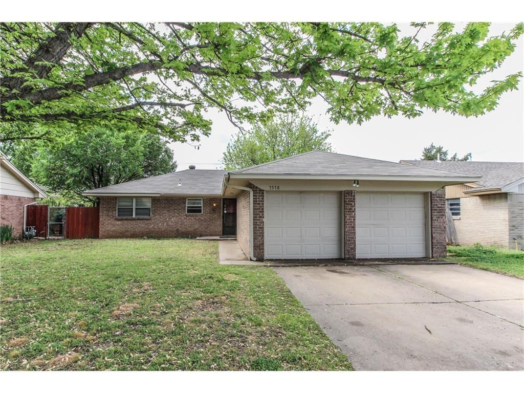Consider this fantastic 3/2/2 brick home in an established neighborhood less than 2 miles from OU.  This house 1215 sq ft home is in great condition and comes with appliances to include fridge, stove, dishwasher, washer/dryer, and disposal.  Entire interior nicely painted with neutral colors.  It has a large living room and master bedroom, a wonderful kitchen with lots of counter space, and an abundance of storage space with built-ins.  Stained concrete in kitchen, dining and living plus an indoor laundry.  Nice lot with a privacy fence and a two car garage. This property is located at 1518 E. Boyd St Norman OK 73071. Easy access to OU, Lindsey, Hwy 9, and lots of amenities on Norman's east side.  Sorry, no smoking permitted on property.  Owner will consider a small pet.  Available June 1st.  Rents for $1075 with a $1000 deposit.  This gem of a home will not last long—just look at the pics!  Broker/Owner.