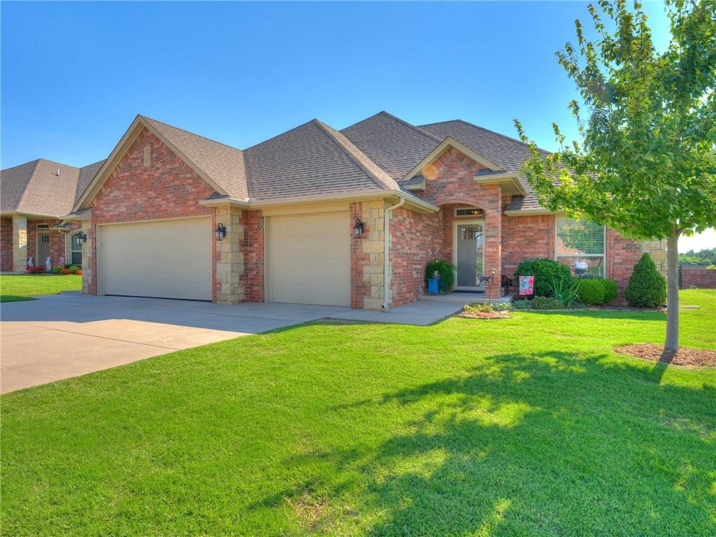 Perfect Home! This Edmond beauty is practically brand new! Beautiful wood floors, huge island, beautiful granite countertops, covered patio with a pergola that backs up to a beautiful pond, ample storage, safe room, and so much more! Hurry and make your appointment today. HOA fees include full yard maintenance(mowing, weed spraying, front flower bed weeding)exterior paint, pool, rec room and workout room, gated community. All info to be verified by buyer including schools.