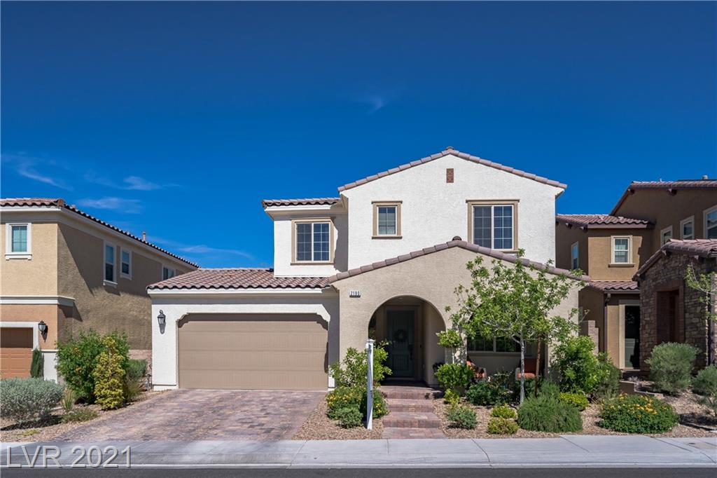 Beautiful open-concept home in beautiful Inspirada that features 4 beds & 3.5 baths with a bedroom downstairs w/ensuite, powder room down as well, secluded den with French doors, surround sound, & massive loft. Kitchen equipped with modern cabinets, oversized island, granite, cooktop, SS appliances, and walk-in pantry. Spacious owners suite w/walk-in closet, sep shower/Roman tub, dual sinks. Large laundry room, covered patio, inviting mature landscaped backyard & epoxied garage. Community features include multiple pools, parks, jogging, tennis courts, Bball courts, skate park, events, clubhouse, pet parks, roving security and more!