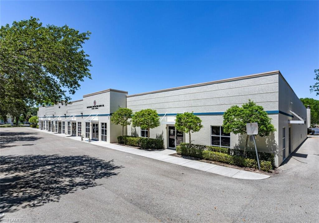Built in 2002, this easy-to-show and highly functional flex unit consists of 2,710 s.f. of air-conditioned space. FRONT: 710 s.f. office/showroom. REAR: 2,000 s.f. warehouse with 14' foot ceiling and large overhead 12' x 12' rear bay door for easy loading/unloading plus pedestrian access side door. IPD/CPD zoning can accommodate a great variety of uses. Perfect for a business, storage or an infinite variety of uses. The flex-space unit is 24.5' wide, 80.5' feet deep. Front office/showroom has awning, glass double front doors and 6-frame glass feature windows either side of the doors, marble tile flooring inside and a bathroom. Rear warehouse has a 2nd bathroom. Flooring is mainly rubber tile, plus marble tile.  Just 7 units in the building. 3-phase electric (110v & 220v). The condo association is responsible for the building exterior (roof, structure, paint, parking area, entrance monument, landscaping, irrigation, trash removal, etc.), and a professional management company maintains the property. The owner is responsible for all doors, a/c unit, water/sewer and electric. The monthly condo fee is $400.40. Water/sewer runs around $15 a month and electric around $150 to $200 a month.