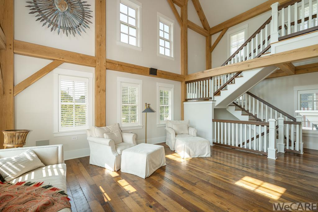 Two story space with so much natural light