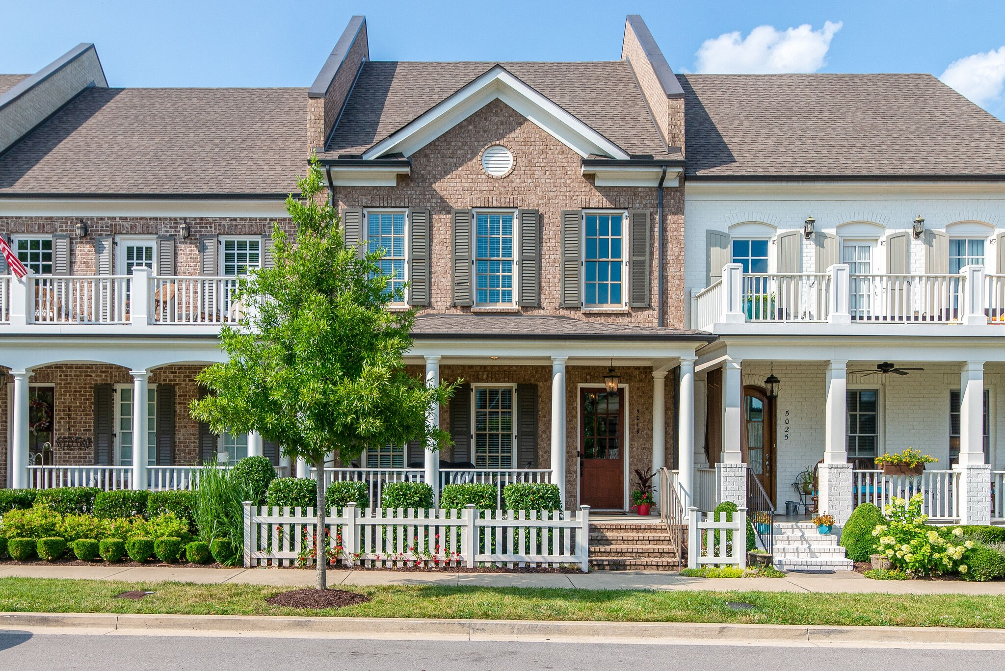 Beautiful Brownstone in Westhaven that provides luxury low maintenance living! The Violet floorplan features 4 bedrooms, 3.5 bathrooms, bonus room, & sitting room. Primary bedroom on the main floor filled with natural light. Primary bathroom with double vanities & large walk-in closet. Great open concept floorplan with large windows. Back fenced area with stone patio. Extra storage space built in attic. This home is across from Giving Tree Park with a nice view from the covered porch!