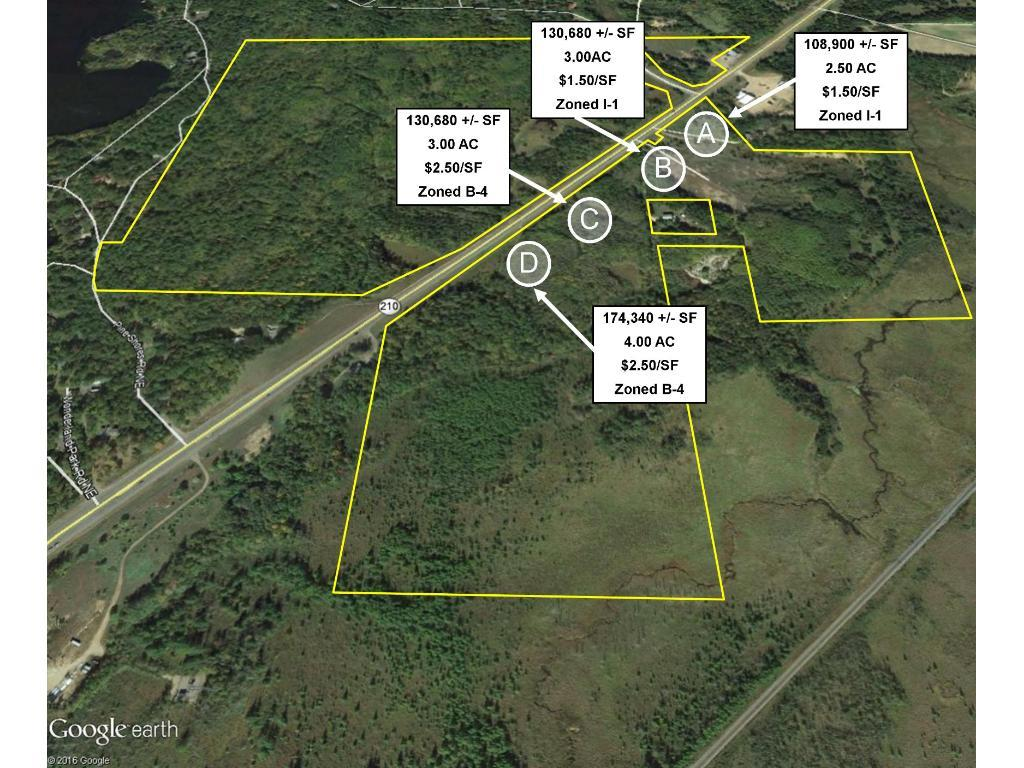 Configuration & dimensions to be determined based on developer's needs. PID & Legal to be assigned after platting. Up to 230+ acres containing numerous business site & development opportunities. Located in NE Brainerd on Hwy 210, just before the Airport. Zoning ranges from light industrial & general commercial to single-family & medium-density residential. Various sites w/in the industrial & commercial business areas are offered for sale first, w/ additional com & res opportunities to follow.