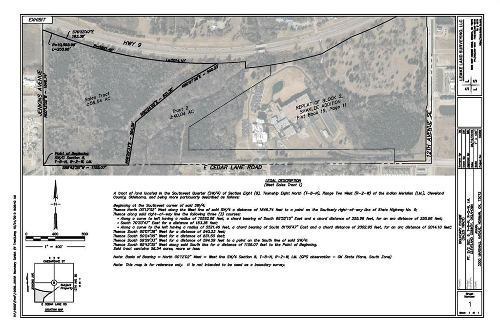 56.54 acres of prime real estate located off Hwy 9 & Jenkins in Norman. Right across Hwy 9 from the OU Campus. Zoned light industrial. See survey for property boundaries. Surface rights only. Property is fenced. Must contact listing Realtor to access property. Address is approximate and only for mapping purposes. Unplatted land.
