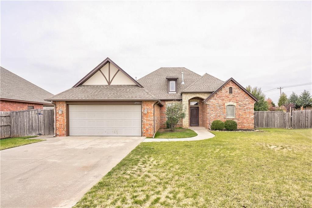 This beautiful home is located in the heart of Moore! It is located close to everything, highways, shopping, restaurants, and entertainment! It is a very well cared for home featuring  a study, 3 spacious bedrooms, 2 bathrooms, a covered back patio with a fireplace, large living area, and a great utility room with extra storage.  The large master bathroom includes a huge walk in closet with built in shelves, a jetted tub, and a walk in shower. The kitchen has great counter space for cooking, large pantry, and good storage. The dining area is spacious and can accommodate a large table. The study will be a great work or craft space. The back yard is large, great for entertaining and includes a large covered patio with a fireplace to keep cozy! Extra large Storm shelter is included, in garage!