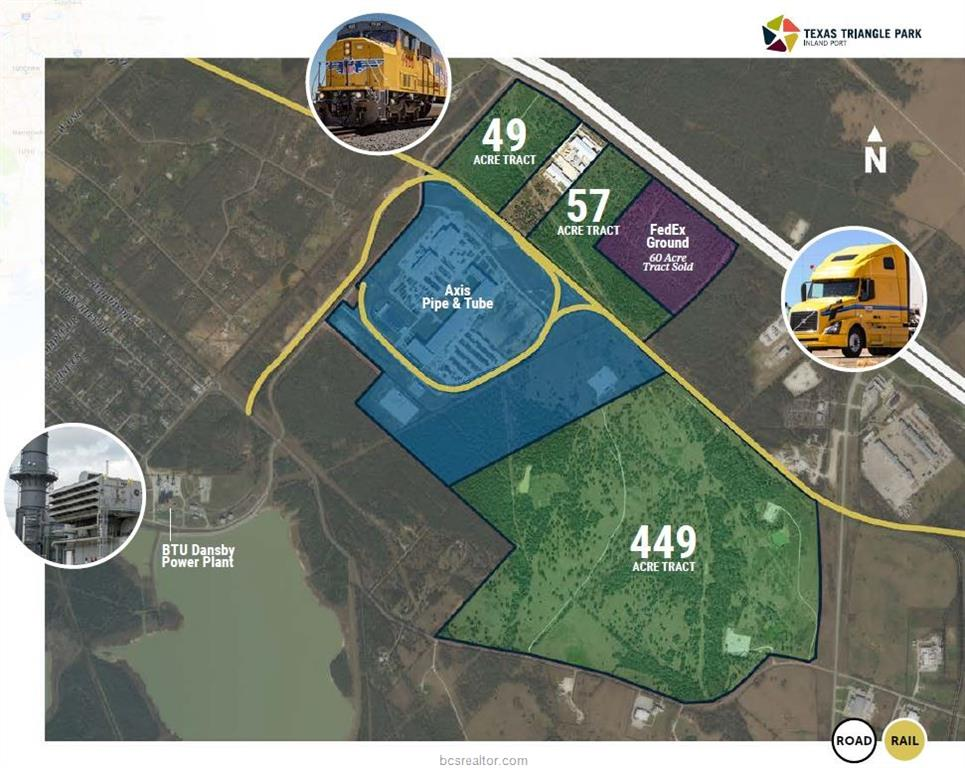 449 Acres owned by City of Bryan and Brazos County Economic Development, Inc.(CBBCEDF) Prominent location at NE corner of FM 2818 and Mumford Rd. Industrial zoning. UPRR Rail WYE has preliminary approval. Siding. High volume water, sewer, and gas on site. Quest Certified Site. CBBCEDF desires only prospective buyers that will make significant capital investment creating quality jobs. CBBCEDF reserves right to refuse and/or require conditions on all offers. Various economic incentives may be available, local and state.