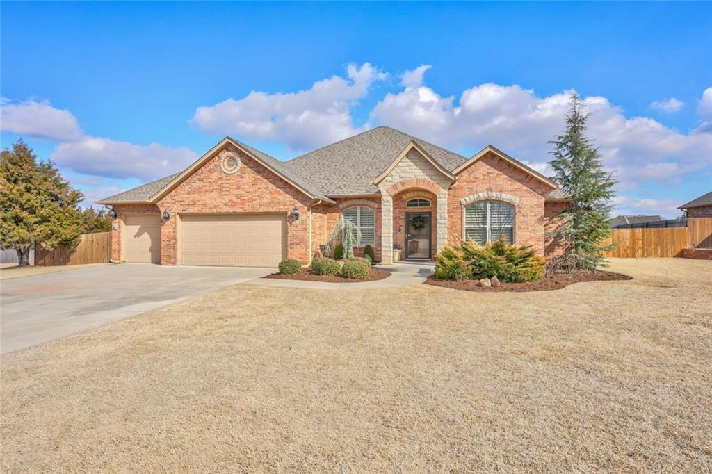 """IMPRESSIVELY UPGRADED HOME! ALMOST 1 ACRE IN EDMOND SCHOOLS! Hands down, the best floor plan for 1972 sq ft EVER! Super spacious! Sellers added rich wood floors in Living, Study, and Master! Plush top-of-the-line carpet in Beds 2 and 3, and upscale 18"""" tile floors in Kitchen and Baths. Granite everywhere! Towering barrel ceiling in the entry sets the tone for high design! AMAZING KITCHEN steals the show with an enormous granite island/breakfast bar! Open Kitchen and Family Room flow together seamlessly. Private Master Suite boasts a soothing palette and jaw-dropping Master Bath, including granite """"statement"""" vanity, new custom shower, jetted tub, walk-in closet, and patio access. Second Bath is remodeled with a taller granite double-sink vanity and a tiled archway over the tub enclosure. EXTENDED COVERED PATIO stretches the length of the home! Huge fenced backyard with tons of privacy and lots of trees! Gated Neighborhood! Easy access to I-35"""