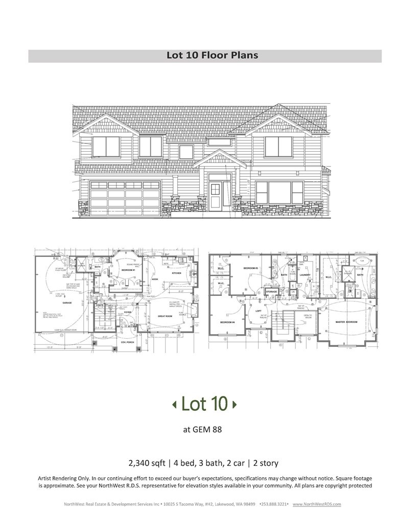 CAPTIVATING NEW HOMES fm Gem 88 bring true beauty & quality to the community! Gem 88 offers 12 single family homes, fully fenced & landscaped w/custom-designed, highly functional floor plans! Lot 10 features an open-concept great rm, gourmet kitchen, quartz countertops, gas range, as well as a bedroom/office & bath on main fl. On upper fl. you'll find a spacious vaulted master suite w/huge WIC, loft, bdrm 2 & 3 w/shared bath & large laundry room. Home equipped w/tankless water heater & energy efficient gas furnace! Spacious 2-car garage w/separate entrance access a backyard accessorized w/cute patio & deck for outdoor fun! Convenient location-only mins to I-5, shopping, restaurants, & JBLM! 2-10 HBW included! GPS add:1054 S 88th ST Tacoma.