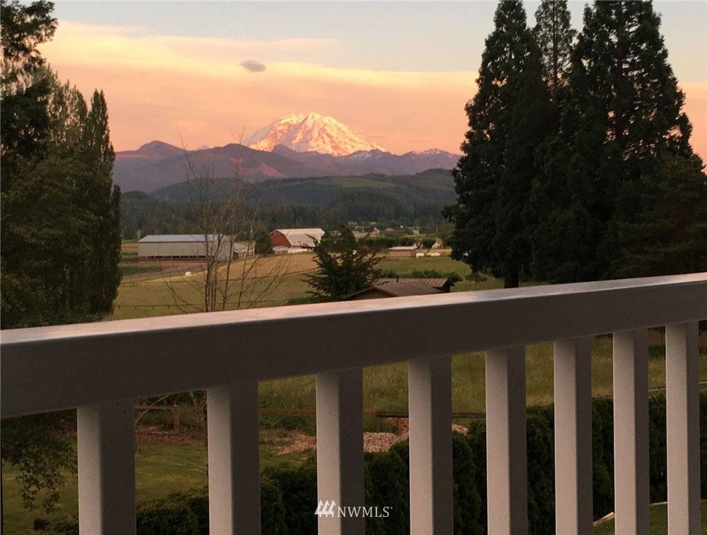 """Welcome to New Horizon, Enumclaw's Sought After Community of Luxury Homes on Acreage w/Full Mt Rainier Views! You'll fall in love w/this """"builder's own custom home""""- built w/quality finishes & features throughout. Traditional farmhouse feel with a modern open floorplan. 9' ceilings on both levels, main floor den with french doors opens to the cathedral entry w/spindle staircase. Gorgeous master suite w/cathedral ceilings & large picture window, balcony access w/full Mt Rainier views! 5 piece spa bath w/subway tile & more. Good-sized beds, one w/balcony access. Upper floor bonus/4th bedroom. Mature landscaping & large entertainment patio! Upgrades-sprinklers, custom outbuilding, low maint brick exterior, lifetime concrete/tile roof & more!"""