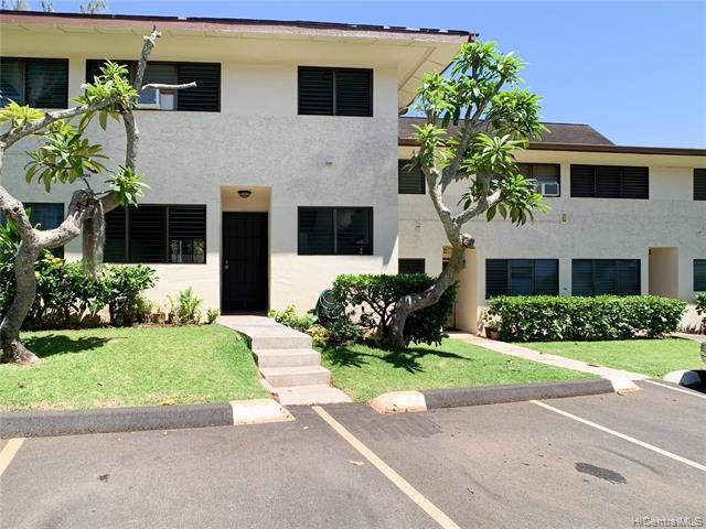 """Welcome home to this beautiful """"Ready to Move In Condition"""" golf course view townhome! -  Rarely available recently remodeled 2 bedroom, 1.5 bath split level townhome with a golf course view just outside of your Lanai.  This unit features BRAND NEW paint, flooring, outdoor carpet, sliding screen door, light fixtures, ceiling fans, vanity in main bath, medicine cabinets, front door locks, range hood, Full size dryer, NEWER fridge, full size washer.  Inclusions: 2017 King size bed set included in the master bedroom, Queen size bed set included in the 2nd bedroom and lanai table and chairs. This building is close to Pearlridge shopping center, restaurants, theaters, and more.  Comes with 2 assigned parking stalls right in front of unit.  Don't snooze on this one as it will not be here long!"""
