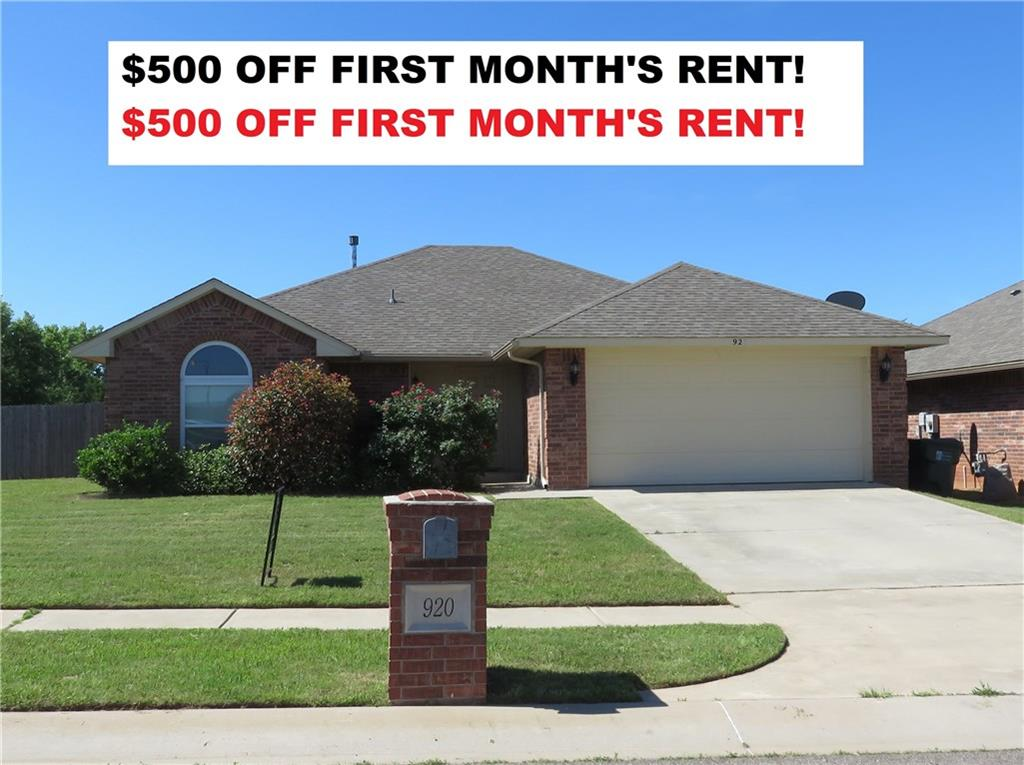 $500 OFF FIRST MONTH'S RENT!   NICE 3 BEDROOM, 2 BATH HOME ON LARGE CORNER LOT. SPACIOUS AND OPEN FLOOR PLAN, LIVING ROOM HAS FIREPLACE.  PRIVATE, FENCED BACKYARD.  STORM SHELTER IN GARAGE.  INCLUDES REFRIGERATOR, WASHER AND DRYER.  A GREAT PLACE TO CALL HOME!  OPTIONAL SHORT TERM LEASE.