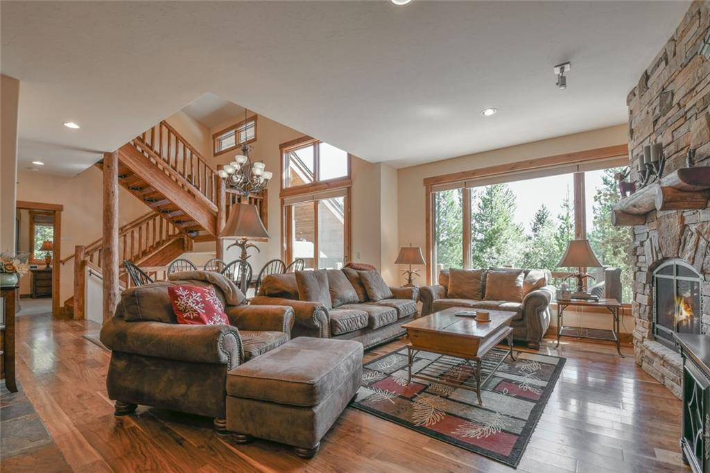 Gorgeous home with a wonderful floor plan. Large great room with vaulted ceilings and a sunny gourmet kitchen. Beautiful master suite with 2 additional ensuite bedrooms and an extra family room with it's own bath. Log accents and high end finishes throughout.  Backyard patio w/ hot tub and multiple level decks to enjoy the mountain views. Oversized 2 car garage for your cars and toys! Beautifully furnished. Duplex that lives like a SF thanks to extra soundproof barriers along all common walls!