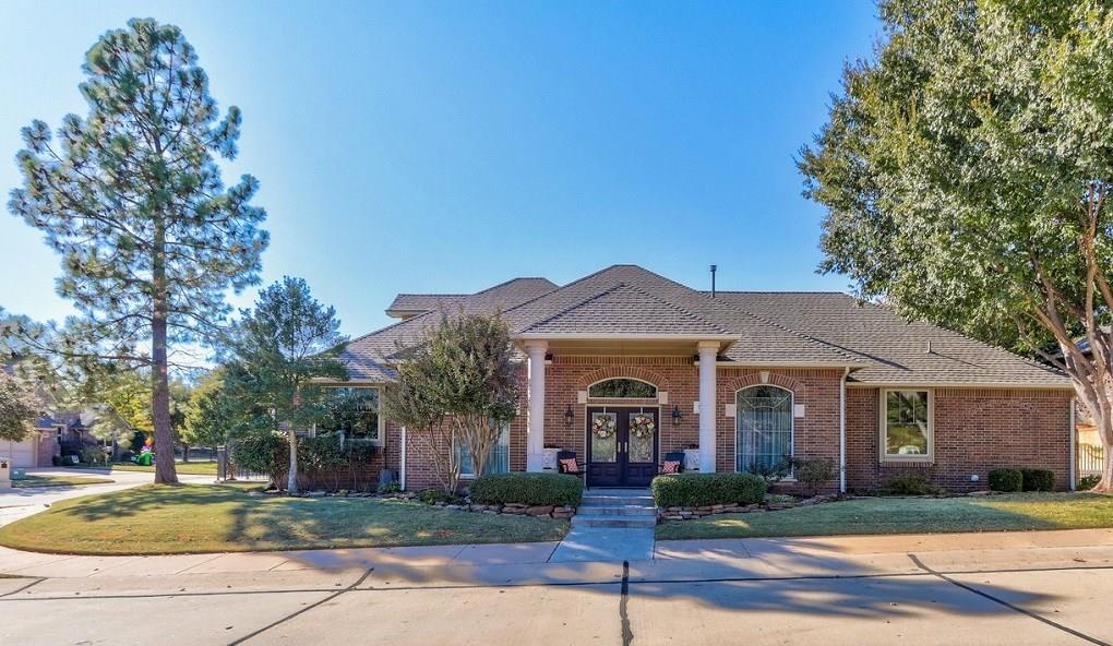 Beautiful 3 bed/3 bath/2 car garage located in the prestigious gated Borgata Community on large corner lot. Open floor plan featuring vaulted entry with staircase. The kitchen is a chefs dream with 2 sinks, large kitchen island, pantry and small patio off of the breakfast nook. The living room showcases a cathedral ceiling, cast stone fireplace, and gorgeous wood beams. Down the hall you will find a study or 4th bedroom, large master suite with cast stone fireplace. Master bath offers tons of space with dual vanities and spacious master closet. Guest bedroom and full bath also on first floor. Upstairs offers an additional bedroom with full bath and huge closet for extra storage. Wonderful quaint covered patio with water feature and landscape lighting. Tons of updates including brand new roof, tankless hot water tank, gutters, HVAC, and storm shelter in garage. Beautiful landscaping and rear entry garage. Neighborhood pool and cabana. HOA fees include lawn care.