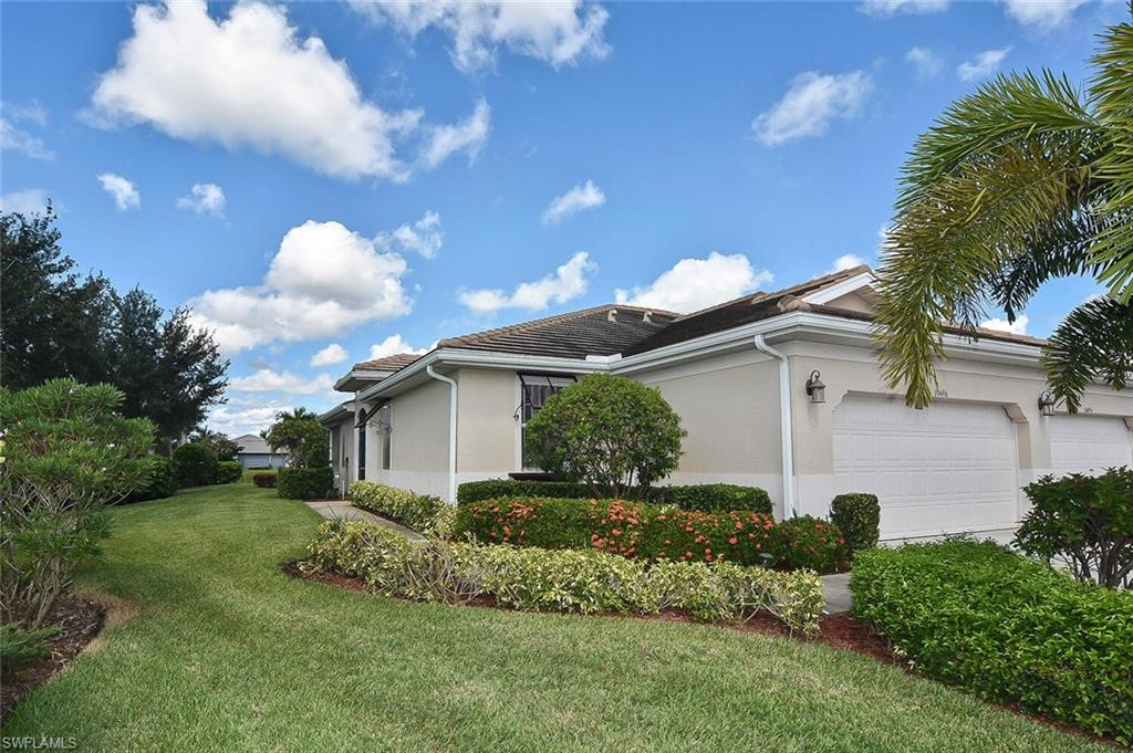 This beautiful 2bed/2bath Milan model is being offered furnished. Situated on a large corner lot with a western exposure for those amazing Florida sunsets.  As you walk through the front door, you will notice the open concept living area with upgraded crown molding and 18' tile that leads directly into the Kitchen and dining area. Featuring Granite countertops, maple cabinets with convenient pull out drawers.  Master suite has a fairly new adjustable King Size bed, The Master bath offers a dual sink vanity with a master shower. This unit also offers an extended garage for extra storage..Even electric drop down wind screens for additional storm protection on lanai. Newer Hot Water heater. Pelican Preserve is an active adult community offering a wide array of activities; golf, tennis, pickleball, billiards, indoor and outdoor pools, spa services, theater, dog park and more. Pelican Preserve is close to the airport, shopping and hospitals...and a short drive to the magnificent Florida beaches.