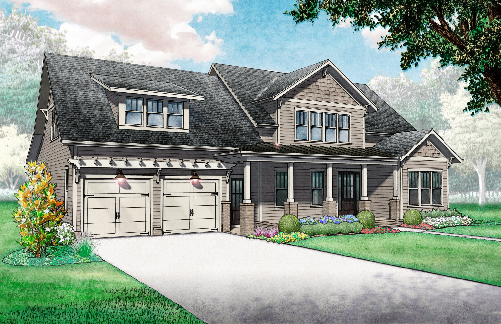 Ford Classic Homes presents a 4 bdrm, 4 bath & 2 pb home in The Grove. Main level primary suite offers vaulted tray ceilings w/beams, spacious master bath & 2 walk-in-closets, w 2nd ensuites guest room & vaulted ceiling Great Room w/ beams & fireplace. 2nd floor has two ensuites bedrooms w/ walk-in-closet, bonus room and finished flex room /5th bedroom. Covered back porch w/ gas starting/wood burning fireplace, all within walking distance of Bridge Bar, swimming pool & tennis/pickle-ball courts.