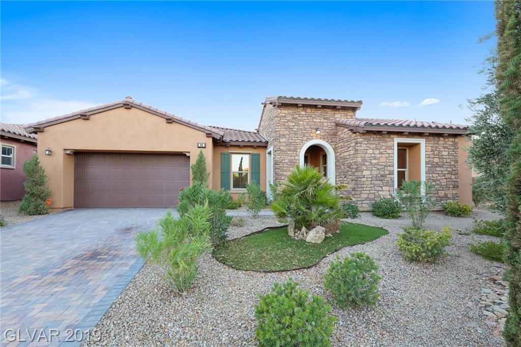 Stunning 1-STORY 3BDRs, 2.5BTHs & 3-car garage HOME in gated Bella Fiore at Lake Las Vegas! This Luxury estate welcomes to Flex/Den upon entry. Formal Living & Dining w/ceramic tile floor opens to courtyard. Sep.Family Rm across Gourmet Lovers Kitchen w/granite cnts, full gr.backsplash, island & pantry. Grand MBDR w/cust.closet, hardwood floor & Spa like MBTH w/dual vanities & make up table. Resort lifestyle in exceptional golf course development