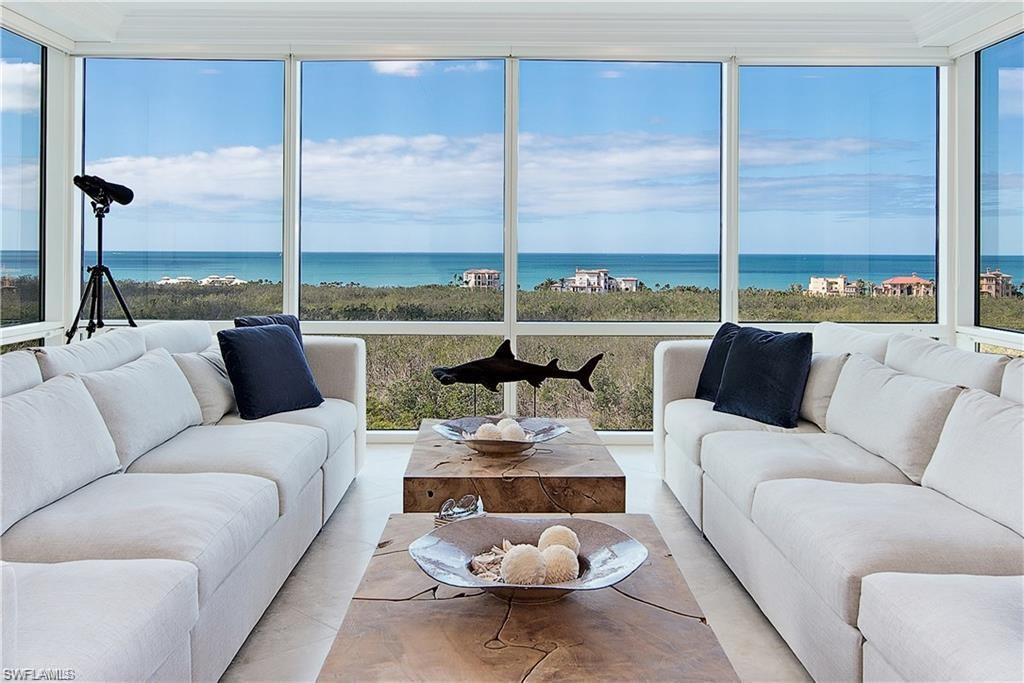 C.1096 - 180 degree gorgeous panoramic floor-to-ceiling FULL Gulf views from this recently updated perfectly positioned 11th floor end unit. This modern home's both coastal chic and comfortably warm - the perfect combination of unique upscale finishes, textiles, stone, architectural details & designer lighting which create an inviting space for upscale entertaining as well as a relaxed enjoyable lifestyle.  Completely renovated & ready for move in. Welcome the day in the sun-filled bfast room in your NEW gourmet kitchen, a chef's delight - featuring state of the art appliances (GE Monogram induction cooktop & Miele dishwasher) that showcase handsome quartz countertops & sleek backsplash. This spacious condo features 3 beds + a den/media room that could serve as a 4th bedroom.  Marvel at the sunset from your 300 sqft lanai.  Amenities inc. resort pool, fitness, card & social rooms. Just completed, new windows, screens, & ext. painting. Conveniently located directly on PBay boardwalk accessing 2.5 miles of beach, 500 acres of nature paths & parks. 2 Gulf front rest.+ full beach service for Pelican Bay residents only, tennis, fitness, canoeing, kayaking & biking + 27-hole equity golf.