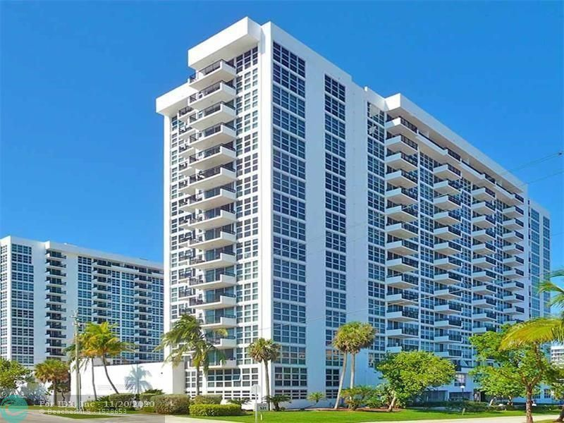 Totally remodeled and upgraded 16th floor unit in updated building with security and underground parking.  Great view of city as well as the ocean and Intracoastal waterway.  Lots of amenities, BBQ area, 2 swimming pools, tennis court, fitness room, game room and laundry room.  One parking spot available with unit, additional may be available through association for an additional charge.  No renting first year of ownership, no pets and right on A1A.