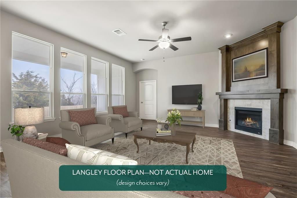 This floorplan has efficient use of space and an open layout for those who love to entertain. A study space. It features abundant storage, tall ceilings, a corner fireplace, and energy-efficient features. The Somers Pointe community combines the convenience of easy access to I-40 and the Kilpatrick Turnpike with a country atmosphere. Residents enjoy the large playground and gazebo as well as the splashpad. Included features: * Two-year home warranty * 10-year structural warranty * Guaranteed heating and cooling costs * Fully landscaped front & backyard * Fully fenced backyard. Scheduled for completion in October 2021.