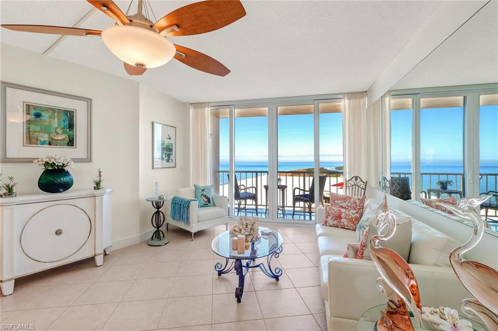 Stunning and private views from this 21st floor 2 bedroom, 2 bathroom remodeled condo at the Gulfview apartments Marco island. The privacy the 2 stack condos offer is incredible, as you don't see the other balconies from your lanai, which is a hidden secret most people don't realize. Beautiful kitchen remodel with tasteful colors, newer appliances, new plumbing and crown molding give this kitchen a luxurious feel. 2 spacious bedrooms which both have views onto Hideaway beach, with some amazing sunsets. Unit has impact resistant sliders, new water heater, brand new tile flooring on balcony, new lights and fixtures throughout and much more, a must see. Great parking spot very close to door on 4th floor. Enjoy direct access to Residence beach & the many amenities like club pool, fitness, pickle ball, tennis and more.