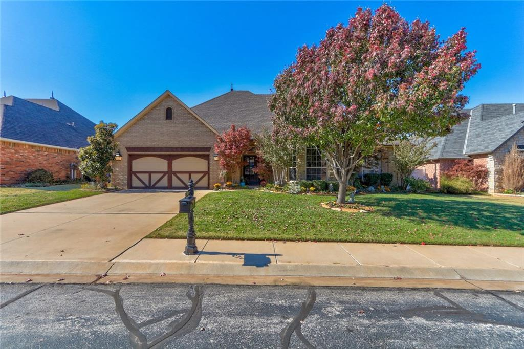 A stunning home in gated Fenwick Garden of Edmond! Great location, within minutes of Quail Springs shopping, newly developed Chisolm Creek, Edmond schools & Kilpatrick. Fenwick offers walking trails, gated access, pool/playground, & community ponds. The ext. features well kept landscaped beds, copper guttering, sprinkler system, updated roof ('15), cul-de-sac location, cozy covered patio, & vinyl fenced yard. The interior layout is spacious and wide open! This gorgeous home features designer colors, true study w/hardwood floors, great natural light, updated lighting in living/kitchen, & updated wood flooring in living. The spacious living room is highlighted by brick accented fireplace & crown molding. The kitchen hosts spacious counter tops & cabinet storage, breakfast bar, & granite. The master suite offers dual vanities, jetted tub, & spacious walk-in closet. Hand wash sink in utility! Updated hw tank in '17, AC '19, & dishwasher '17. Garage area offers small mancave w/heat & air.