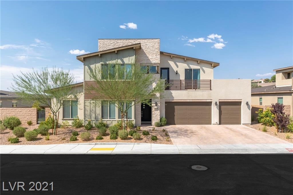Stunning! Well appointed home in the highly desireable Escala Gated Neighborhood in Inspirada. Open concept w/modern finishes. No homes behind. Sets above the walking trail & park. Home features 4 bedrms, 5 baths, den & loft. Also, 2 desk niches. Kitchen has upgraded cabinets, SS appl, quartz, 2 dishwashers & large island w/pendant lighting. Large walkin pantry. Spacious master is downstairs. Generous sized master bath w/large walk in closet.  Upgraded bathroom with a separate tub & shower. All secondary bedrooms are good sized junior suites with their own bathrooms. Den was used as a bedrm and has a barn door. 2 bedrms are upstairs. Large loft with a desk niche. Balcony is off the loft. Living space is huge with vaulted ceilings. 2 sets of stackable sliders lead to the covered patio and yard.  Big pool sized lot with wrougth iron view fence across the back. Covered patio with a built in fire pit.  Electrical & gas have been installed in the side yard in anticipation of a pool.