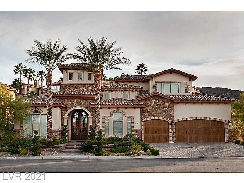 Incredible value in the most desirable Lake Las Vegas location!  This Mediterranean masterpiece features 4 bedrooms and 4 1/2 bathrooms, Gourmet Kitchen w/ SS appliances, Butler's Pantry, Formal Living & Dining Room, 2 Laundries & an Entertainment Area that overlooks and incredible outdoor pool oasis.  No detail is overlooked in this beauty.   All 4 bedrooms are en suite, enabling a flexible floor plan for a Master Up and Down stairs, as well as a front room with a separate entrance- perfect for live-in service personnel or long term guests.  Located in a gated community with several amenities, this cul-de-sac beauty is a must see….