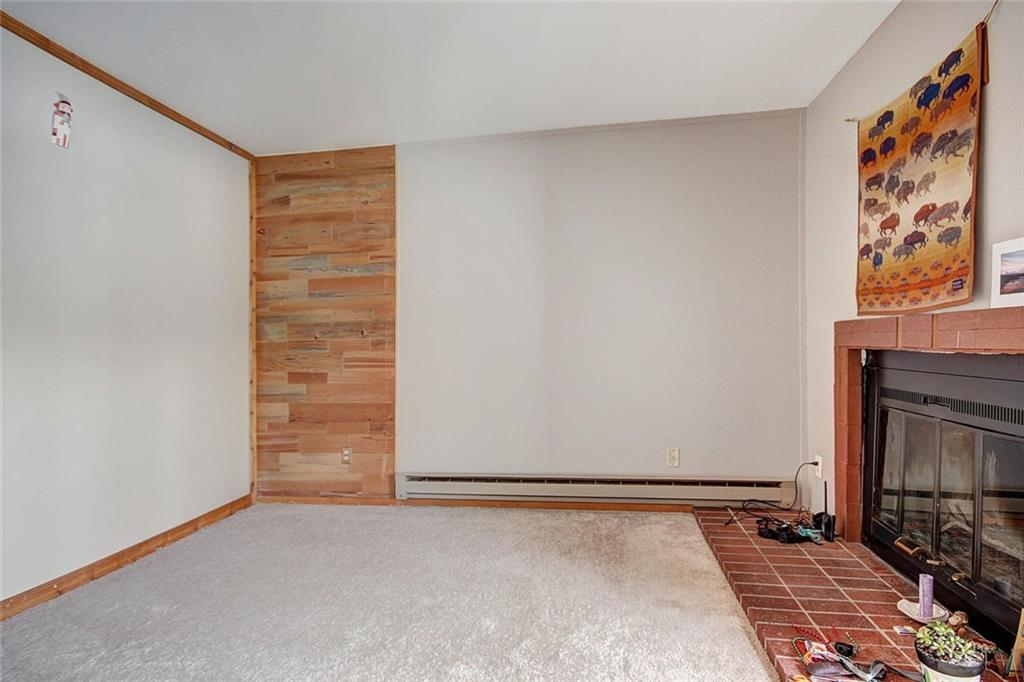 Little living area with wood burning fireplace