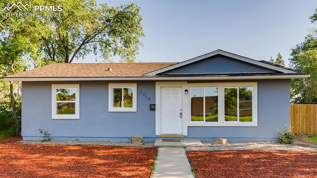 Recently remodeled rancher. Perfect starter home. New stucco, roof, windows, flooring, appliances, new bathroom, new cabinets.  Large rear fenced yard for your dog. Off street parking, Lot is big enough to add a garage in the rear if you wanted. Walk to shopping and restaurants. Close access to I-25 and Ft. Carson. CMAFB. This price point. This will go fast.