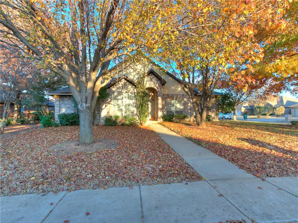 Fabulous floor plan on a corner lot. This home has a large living area that features a see through fireplace into the dinette with gas logs. Kitchen windows over the sink looking out to the front. Granite in kitchen and a pantry. 3 bedrooms on one side with a nice size master on the other. The spacious master bathroom features double vanities, whirlpool tub and his and her closets. The dinette is large enough for a good size table and a sitting area by the fireplace. There is a storm shelter, sprinkler system and much more. Lovely neighborhood with park, pool and walking trails. Located very close to elementary, middle and high school. Don't miss out on this one!