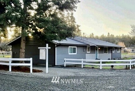 Let your imagination run wild in this tastefully remodeled 3br/2ba rambler on fenced & gated shy 3 acres on a private rd! Great layout with huge bonus room- could be home office, rec room, gym or even used as a master. This room has an additional entrance & a bathroom that can be accessed without going through the rest of the house. Plenty of open space surrounded by beautiful fir trees. New roof, new paint, new cabinets, new fixtures, new floors, & updated systems! Property includes a huge covered patio off of the kitchen, detached garage & shop, as well as 7 horse stables. Board horses or convert the stables to fit your needs. Plenty of space to live, work, & play. Possible dev. opp. for 3 more homes (buyer to verify). Welcome home!