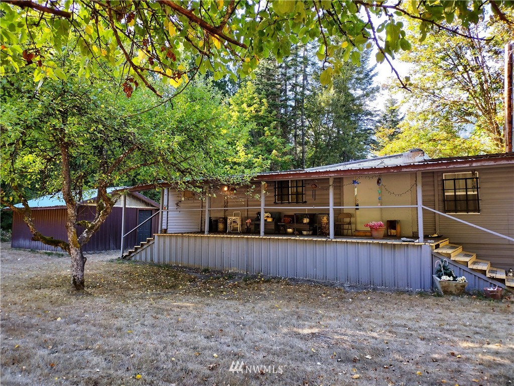 Gorgeous setting that would make a Great hunting camp. Between Packwood and Randle! 6 acres total with lots of woods! 1 bedroom plus 1 bath home. Easy access right onto Hwy 12 and you can go east or west. RV hook-up. Nice garden space. Fruit trees. This is a great value!