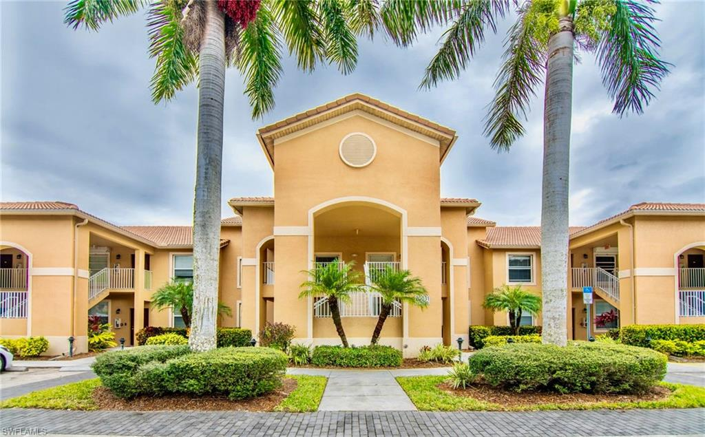 Beautifully Furnished, 2nd  Floor - Updated two bedroom / two bath, condominium with tile / laminate  throughout.  Do not miss the opportunity to live in this amenity rich community of Bella Terra in Estero. The unit features a great room with high ceilings, family dining area and a screened lanai and has secure/private storage located adjacent to your assigned carport. Bella Terra is an active community that features a resort lifestyle. Amenities include a nicely equipped fitness center, resort style pool, basketball, roller rink and children's playground. Bella Terra's location provides easy access to Florida Gulf Coast University, Southwest Florida International Airport, great shopping & dining and the beaches of SW Florida.