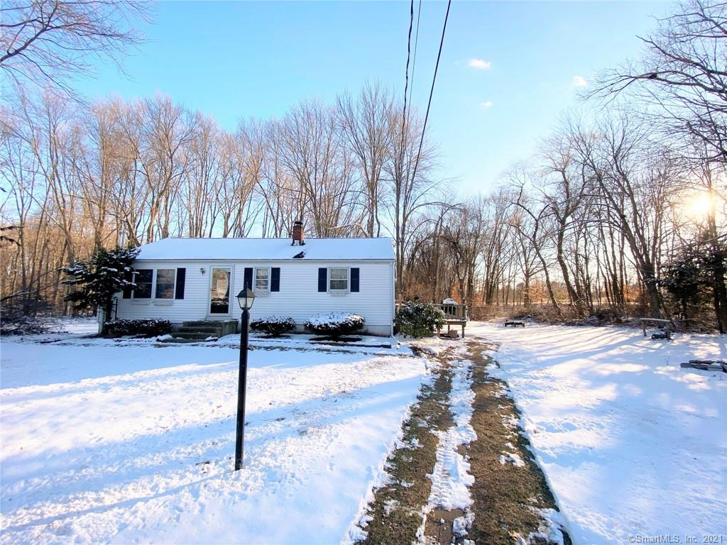 """Rare find!  3 Bedroom one bathroom ranch on a private .73acre lot set far back off the road.  Very clean, well maintained and move in ready.  Full 3/4 height basement with hatchway.  Newer boiler.  Property is in good condition but to be sold in """"as is"""" condition.  Inspections for buyers information only."""