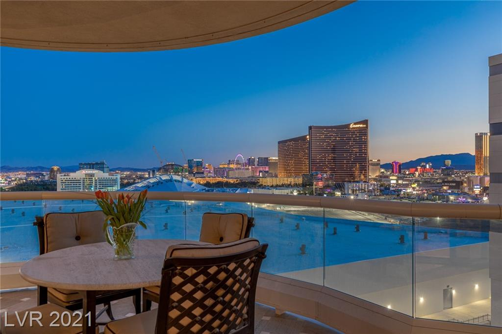 Residence in the sky showcasing one of the best views in town. This condo overlooks the Las Vegas Strip, Wynn golf course, downtown, mountains & city views. Private foyer, large balconies w/two separate terraces, oversize living room w/built in bar, fireplace & large dining room. This very desirable floor plan showcase 2,805 sq.ft. interiors, 379 sq.ft. terraces, 3 bedrooms, 3 bathrooms, including  laundry room w/sink & cabinets. The enormous balcony is ideal for outdoor lounge & dining. Get used to the best views from this unique high-rise condo. All closets are built-in. The tower has a gym, spacious pool, BBQ, pet park, guest suite, conference room & complementary limousine services. Experience the Stirling Club, a private membership conveniently located on the grounds offering; nails, hair salon, barber shop, facial, massage, gym, Pilates & zumba classes, in & outdoor pools, meeting rooms, Starbucks, wine cellar, cigar lounge, restaurant, ballroom) & everything your heart desires.