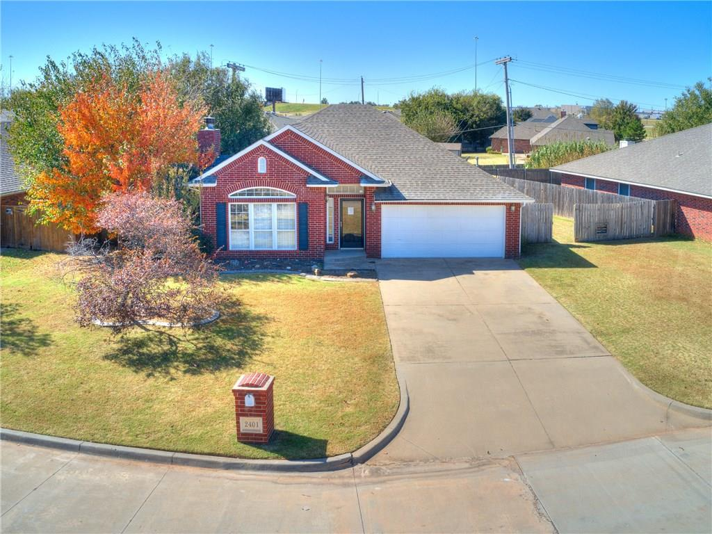Priced under $150K in the Moore School District and move-in ready with all new interior paint, new carpet in secondary bedrooms (sellers giving option of $1,500 allowance to refinish stained concrete flooring or put in carpet!), new exterior paint (in October), and that is just the beginning!  The lot is very spacious and has room for a storage area or outbuilding. Your master bedroom is 20x12--plenty of room and you can have a sitting area, desk, or exercise equipment as well.  Dual vanities, marble counters, whirlpool tub, a walk-in closet, and a fully tiled shower complete your master retreat.  Guest bedrooms both have ceiling fans and spacious closets and are next to the guest bath which also has solid surface counters and fresh paint.  The kitchen has great cabinet and counter space, a full complement of appliances (to include a refrigerator), and recently rejuvenated wood. Just minutes from the 19th Street Amenities and a short drive to Tinker AFB!