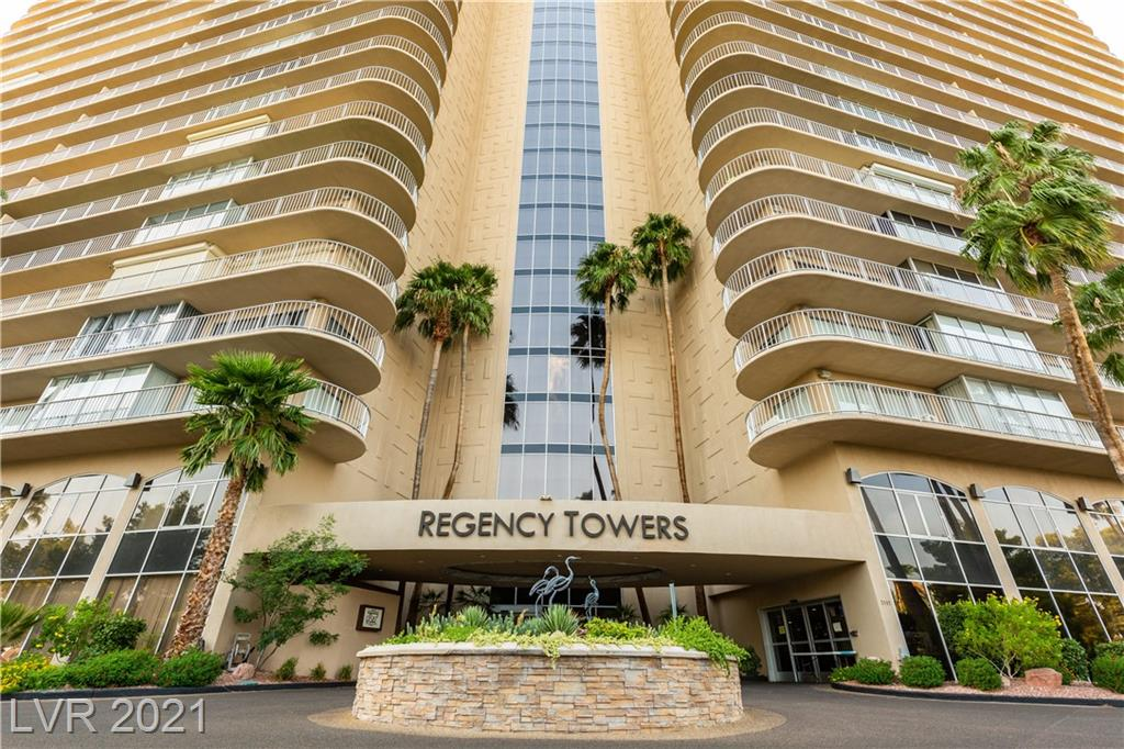 """WEST FACING END UNIT WITH WRAP AROUND TERRACE!. Views to the West including the STRIP, The SOUTH and to the NORTH. This unit is in """"near"""" original condition, with one SIGNIFICANT improvement...ALL NEW WINDOWS & SLIDERS WITH TINT! . Las Vegas Country Club is located in a triple guard gated community. Regency Towers, rich in history is one of the first high residences in the Valley and continues to offer value, prestige and security. Such an opportunity to secure a unit that you can customize as your own, get the views that will impress and. Priced so good anyone can put their own touch on it!"""