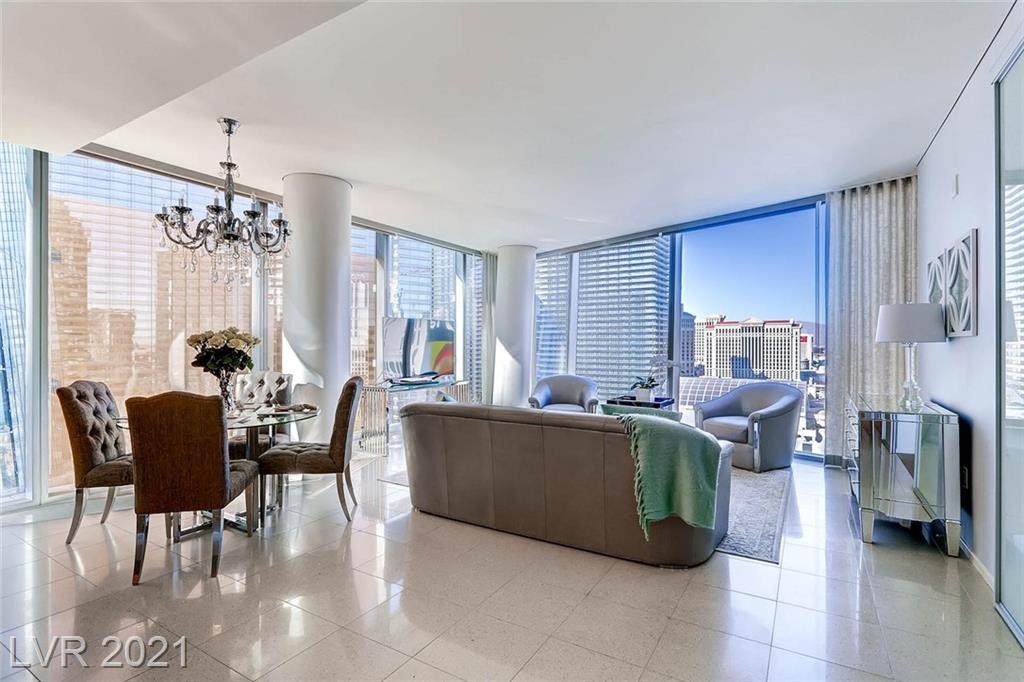 Stunning Veer 2 bedroom 2 bath with the desired north strip view comes Professionally designed and FULLY FURNISHED! Located in Multi-Billion dollar city centerneighborhood. Views of Bellagio. Steps to Aria and T-Mobile Arena. Surrounded by the best Dining, Gaming, and Shows on the strip. Building includes Valet Parking, Fitness Center, Security, Rooftop Pool and Hot Tub