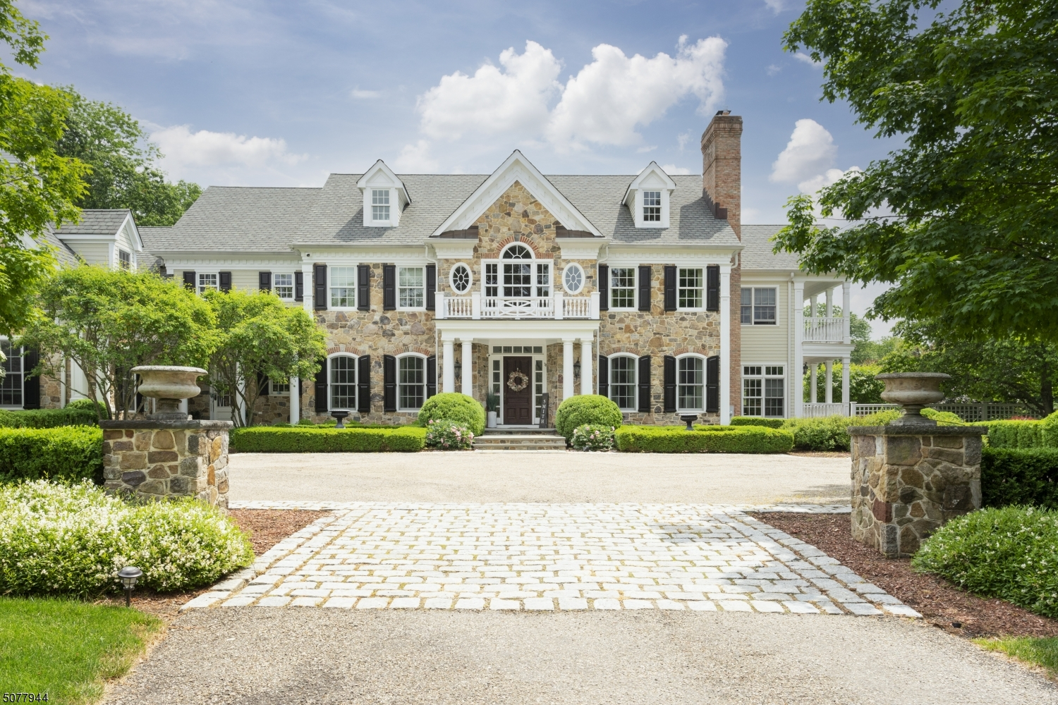 Absolute perfection on ~4 acres w/7Brs 7.5 baths 2 miles from NICHE 2021 top school in NJ. Enter multi-floor foyer w/winding stairs & FLR/FDR on either side and a phenomenal custom kitchen Enjoy morning coffee at XL granite island or breakfast area w/turret ceilings looking onto 1 of 2 backyard patios. Step down into giant FR w/FP, step up to wood wet bar. On left is coffered ceiling mahogany office great for all day zoom mtgs.  Past bar is 1 of 2 wrap around covered sunroomsTake 1 of 2 stairs to Primary BR w/multiple WICs, XL FR & vanity sitting areas. Admire the manicured backyard fr your breathtaking bath. There s also 4 lg ensuite BRsFin basement has full kit, 2 wine cellars, media rm, gym & has private entrance making it perfect space to entertain or private mother/daughterMAKE APP TODAY