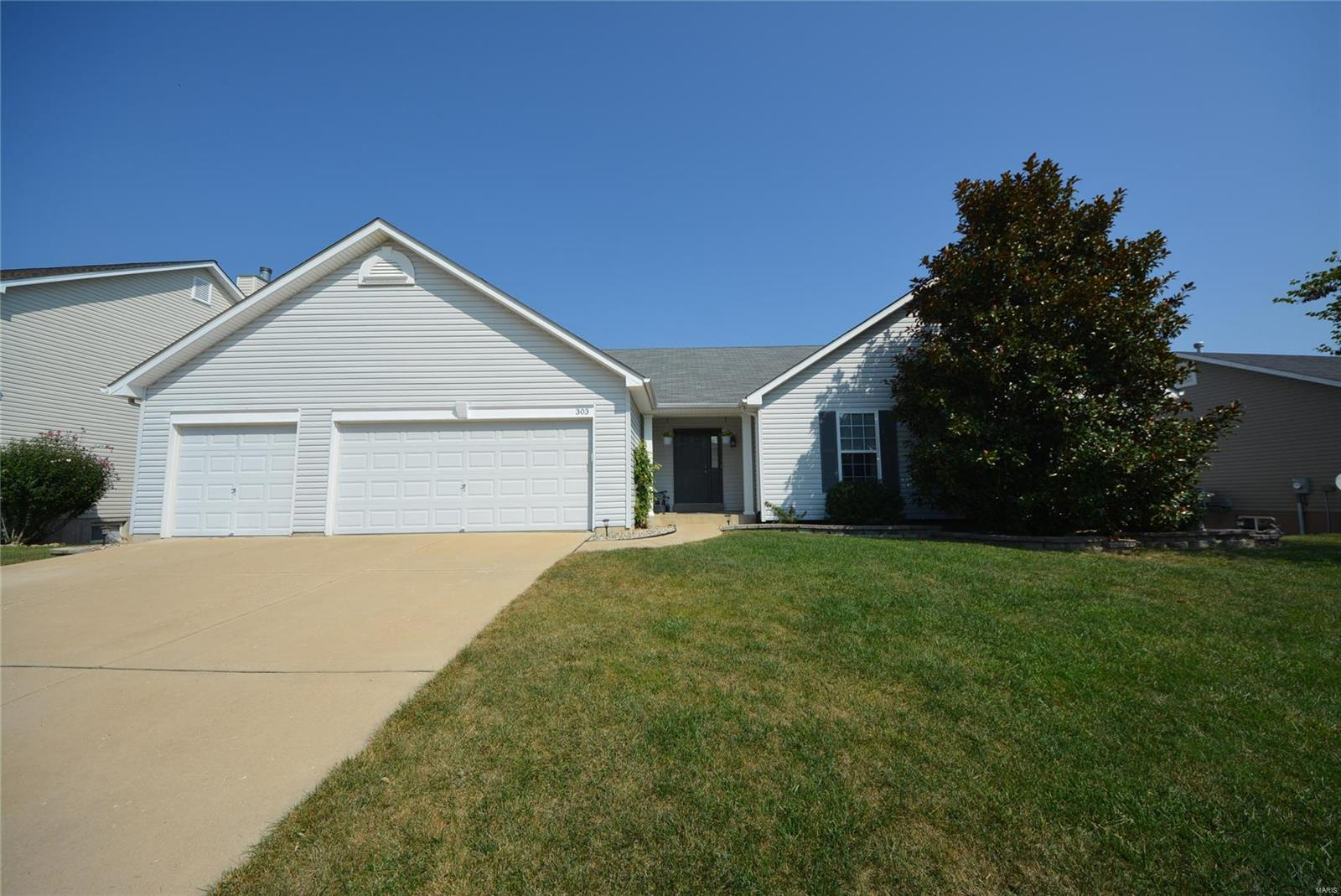 WELCOME HOME to this MOVE-IN-READY 3BR 2BTH great rm ranch w/1621 SF in the Wentzville School District! Nestled on nearly a quarter of an acre level lot this home offers great curb appeal w/vinyl front, covered porch, lush landscaping & 3 car garage. Walking in you'll notice the spacious great rm w/tall vaulted ceilings. The eat-in kitchen offers tons of cabinets, pantry, bkft rm w/bay window & door to the patio looking out to the lvl fenced backyard perfect for relaxing & entertaining outdoors. The luxurious main floor master suite provides a LG walk-in closet & deluxe full BTH w/jetted tub & sept shower. 2 add'l BR, full BTH & laundry complete the main. The clean lower lvl w/rough in for bth is just waiting for your custom finish for added living space. Great location w/easy access to major hwys, great schools, shopping & restaurants. A MUST SEE!