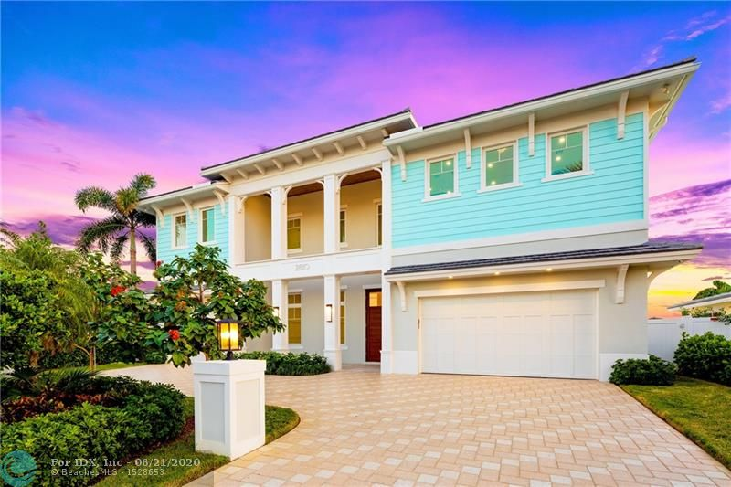 New British West Indies inspired deepwater estate boasting 80+/- feet of water frontage on the Capri Canal in the enclave of Pompano Beach. Double door entry expands to luminous, glassed encased rooms that view the waterway & pool. Smart home automation throughout the entire property including the garages. Classically-Chic Chef's Kitchen, with sub-zero & wolf appliance packages, including a gas range with natural gas hookup. Luxurious master quarters feature spa-like baths, his/hers wardrobes, his/hers water closets, with a makeup vanity & private waterfront balcony. Luxuriate in outdoor entertaining at the resort-style pool with a covered lanai, an outdoor summer kitchen, fire-pit, and a cabana bath with an outdoor shower. Composite made yacht dock with cleats, bumpers, 60 Amp pedestal.