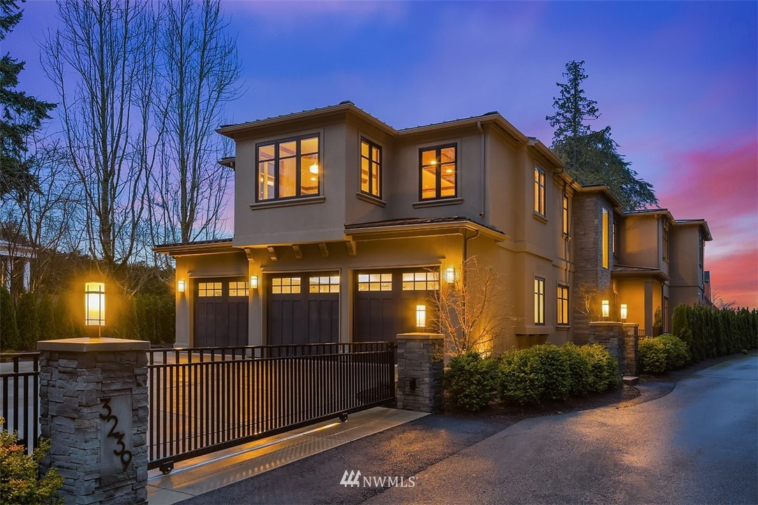 New Construction Gated Estate in a private, sun-lit setting on renowned Evergreen Pt Rd in Medina. This fully landscaped 20,000 SF lot lives large with views of Lake Washington, Seattle & the Olympics. Enjoy two kitchens with granite countertops & gourmet brands you would expect: Wolf, Sub-Zero & Miele. Main floor open plan is built for entertaining large gatherings, but yet is warm & inviting for small, private dinner parties.  Sauna, wine room, 5 ensuite bedrooms, 8 bathrooms, large media/entertainment room, spa like Master Suite & heated patio with bluestone fireplace. Spacious living accentuated by 10' ceilings & 8' doors is ideal for working at home.  Award winning Bellevue Schools including Medina Elementary & Chinook Middle School.